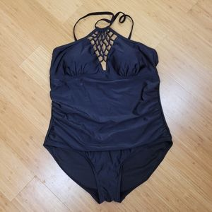 Swimsuits for All Black Braided Front One Piece 20